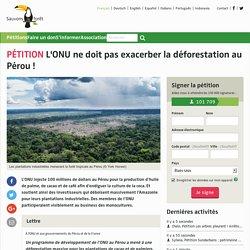 L'ONU ne doit pas exacerber la déforestation au Pérou!