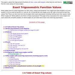 Exact Trig Values
