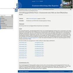 Verwaltungsgerichtliche Praxis - Examensrelevante Fälle aus dem Öffentlichen Recht — Rechtswissenschaftliche Fakultät