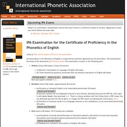 IPA Examination for the Certificate of Proficiency in the Phonetics of English