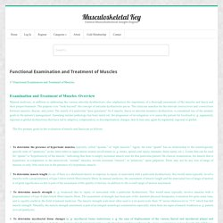 Functional Examination and Treatment of Muscles