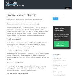 Example content strategy – Content Design Centre