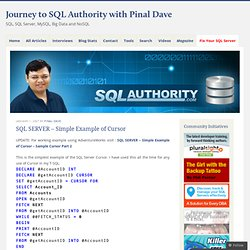 Simple Example of Cursor | Journey to SQL Authority with Pinal Dave