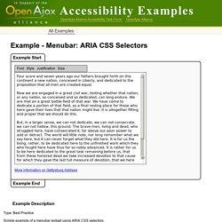 Example - Menubar: ARIA CSS Selectors