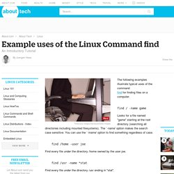 Example uses of the Linux Command find