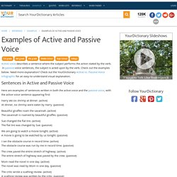Examples of Active and Passive Voice