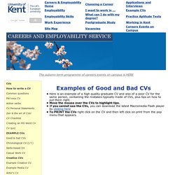 Examples of Good and Bad CVs