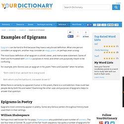 Examples of Epigrams