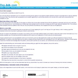 Cover letter examples, template, samples, covering letters, CV, job application