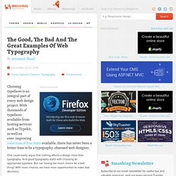 The Good, The Bad And The Great Examples Of Web Typography