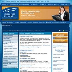 Examples of Rubrics - University of Wisconsin Stout