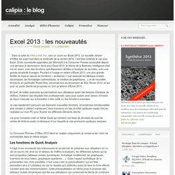 Excel 2013 : les nouveautés