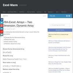 VBA-Excel: Arrays – Two Dimension, Dynamic Array