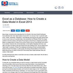 Excel as a Database: How to Create a Data Model in Excel 2013