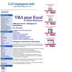 VBA pour Excel - Dialogues et formulaires