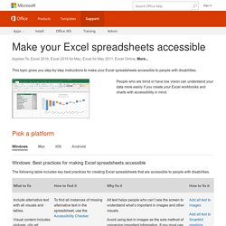Make your Excel spreadsheets accessible
