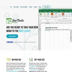 Work with SEO in Excel - The ultimate Excel plugin