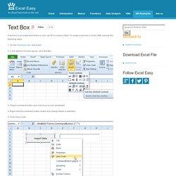 Excel VBA Text Box - Easy Excel Macros