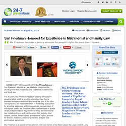 Sari Friedman Honored for Excellence in Matrimonial and Family Law