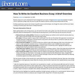 How To Write An Excellent Business Essay: A Brief Overview