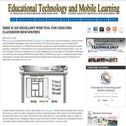 Educational Technology and Mobile Learning: Here Is An Excellent Web Tool for Creating Classroom Newspapers