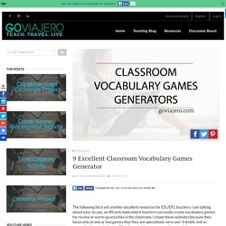 9 Excellent Classroom Vocabulary Games Generator - Go Viajéro