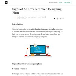 Signs of An Excellent Web Designing Firm - Web Samadhan - Web Hosting Company in India - Medium