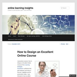 How to Design an Excellent Online Course