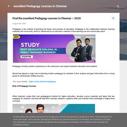 Find the excellent Pedagogy courses in Chennai – 2020