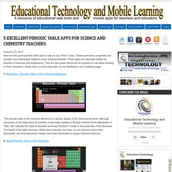 Educational Technology and Mobile Learning: 5 Excellent Periodic Table Apps for Science and Chemistry Teachers