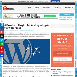 10 Excellent Plugins for Adding Widgets into WordPress