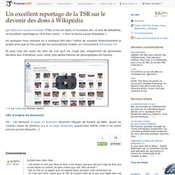 Un excellent reportage de la TSR sur le devenir des dons à Wikipédia