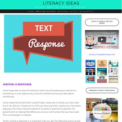 How to write an excellent text response — Literacy Ideas