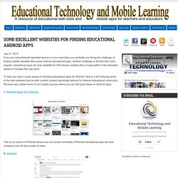 Some Excellent Websites for Finding Educational Android Apps