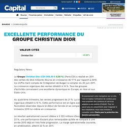 EXCELLENTE PERFORMANCE DU GROUPE CHRISTIAN DIOR