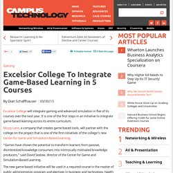 Excelsior College To Integrate Game-Based Learning in 5 Courses