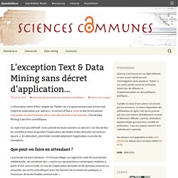L'exception Text & Data Mining sans décret d'application…