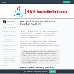 Best (and Worst) Java Exception Handling Practices