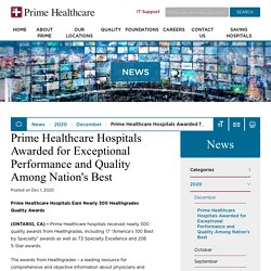 Prime Healthcare Hospitals Awarded for Exceptional Performance and Quality Among Nation's Best