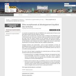 Sites exceptionnels et développement équilibré des territoires - PUCA