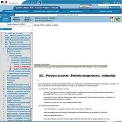BIC - Produits et stocks - Produits exceptionnels - Indemnités