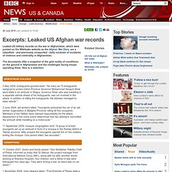 Excerpts: Leaked US Afghan war records