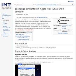 Exchange einrichten in Apple Mail (OS X Snow Leopard) – IMT:HilfeWiki