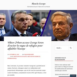 Viktor Orban accuse George Soros d'exciter la vague de réfugiés pour affaiblir l'Europe