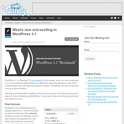 What's new and exciting in WordPress 3.1