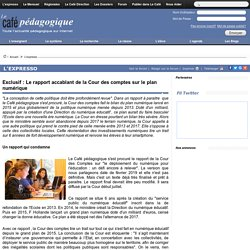Exclusif : Le rapport accablant de la Cour des comptes sur le plan numérique