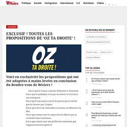 EXCLUSIF ! TOUTES LES PROPOSITIONS DE 'OZ TA DROITE' !