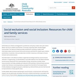 Social exclusion and social inclusion: Resources for child and family services