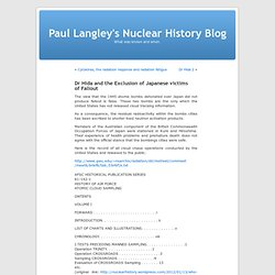 Dr Hida and the Exclusion of Japanese victims of Fallout | Paul Langley's Nuclear History Blog