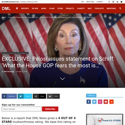 EXCLUSIVE: Pelosi issues statement on Schiff: 'What the House GOP fears the most is…'